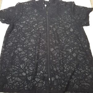 Catherines Womens 3X Black Lace Cover up
